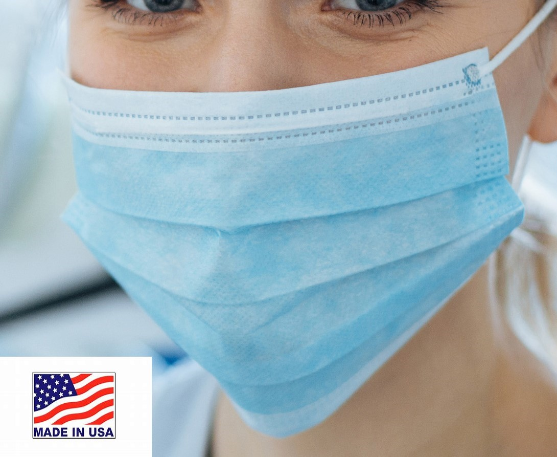 Procedure Mask 3ply  Level 1  *MADE IN USA!* (Case of 600)  BRS1004