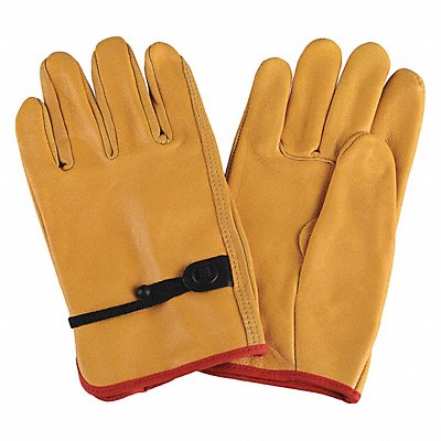 Cowhide Drivers Gloves Cinch Cuff Yellow Size L Left and Right Hand