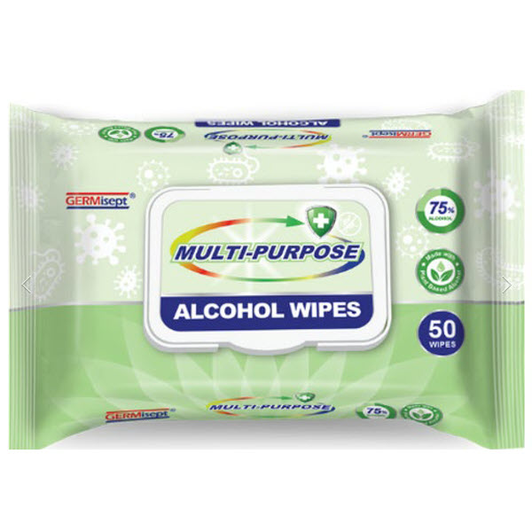 GERMisept Multi-Purpose Alcohol Wipes, 50 wipes per pack (100 Packs)