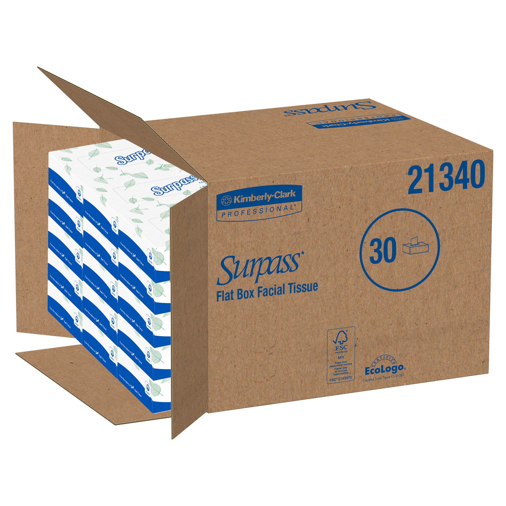 Surpass Facial Tissue Flat Box (21340), 2-Ply, White, Unscented, 100 Tissues / Box, 30 Boxes / Big