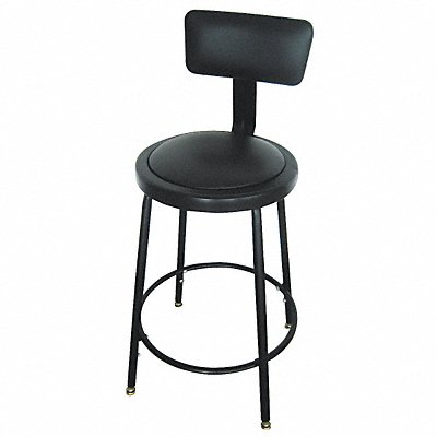 Round Stool with 24 to 33 Seat Height Range and 250 lb Weight Capacity Black