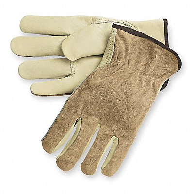 Cowhide Drivers Gloves Shirred Wrist Cuff Tan Size M Left and Right Hand