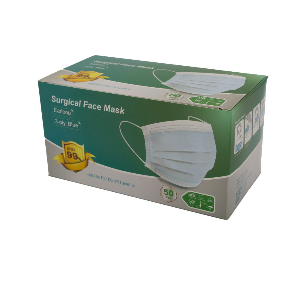 Level 2 Medical Face Mask, 3 Ply, Elastic Earloop Series, FDA Authorized, Box of 50 or Case of 1,000