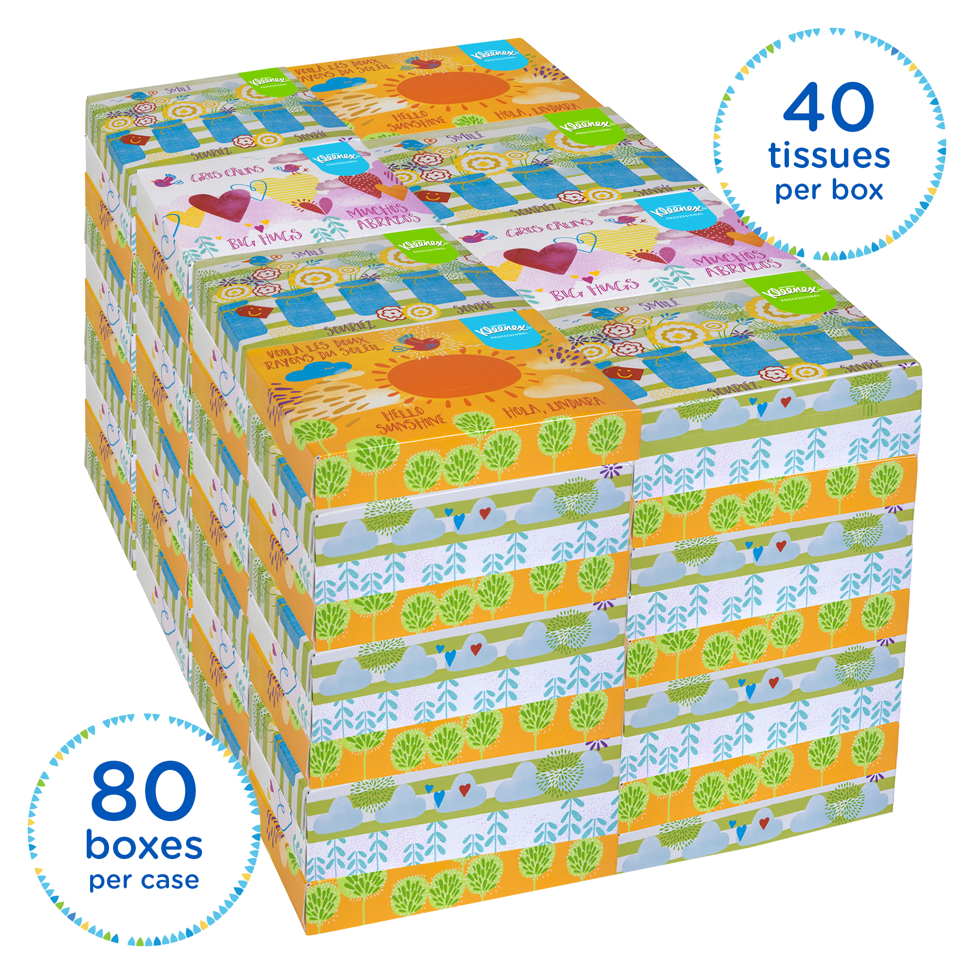 Kleenex Professional Facial Tissue for Business (21195), Flat Tissue Boxes, 80 Junior Boxes / Case,