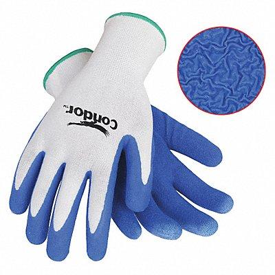 13 Gauge Crinkled Natural Rubber Latex Coated Gloves Glove Size M White/Blue