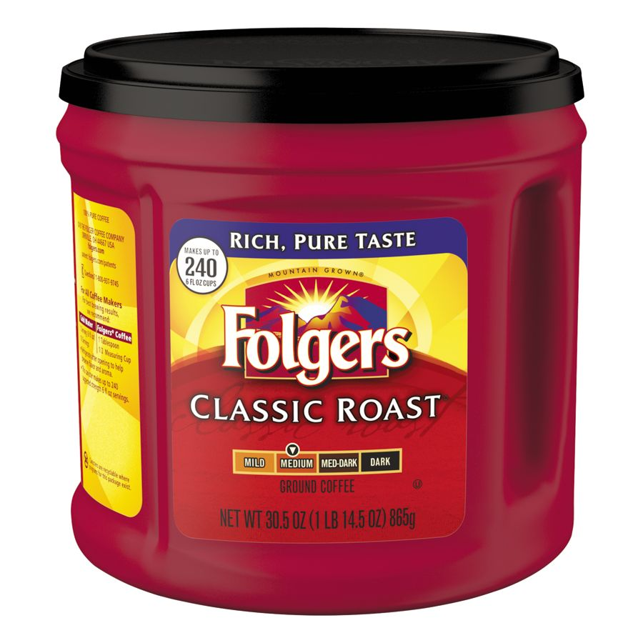 Folgers Classic Roast Coffee, 30.5 Oz Can