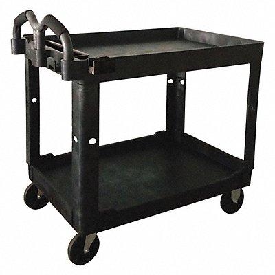 Polypropylene Raised Handle Utility Cart 500 lb Load Capacity Number of Shelves 2
