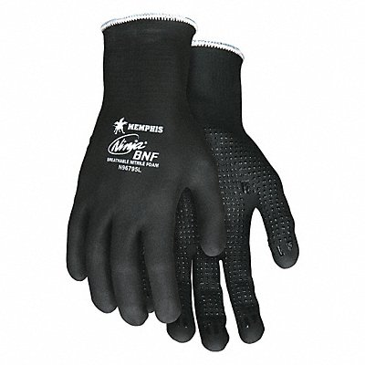15 Gauge Dotted Nitrile Coated Gloves Glove Size M Black