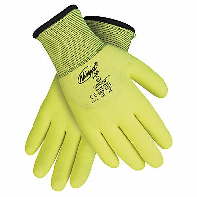 7 15 Gauge Flat Coated Gloves Glove Size 2XL High Vis Yellow