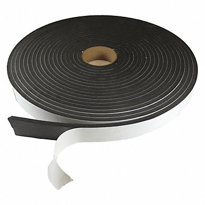 Water-Resistant Closed Cell Foam Roll Neoprene-EPDM-SBR 3/16 Thick 1 W X 50 ft L Black