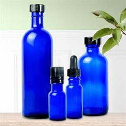 GLASS BOTTLE WITH CAP COBALT BLUE