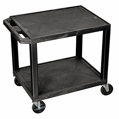 Thermoplastic Resin Flat Handle Utility Cart 200 lb Load Capacity Number of Shelves 2
