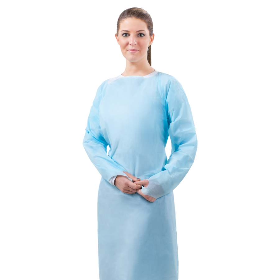 Tronex Fluid-Impervious Over-the-Head Poly Isolation Gown, Thumb Hooks, Soft Blue, 15/box or 75/case
