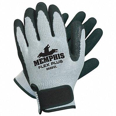 10 Gauge Crinkled Natural Rubber Latex Coated Gloves Glove Size S Black/Gray