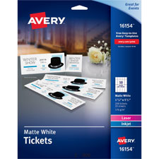 "Avery Printable Tickets,Microperf,w/stubs,1-3/4""x5-1/2"",White,Pack of 200"