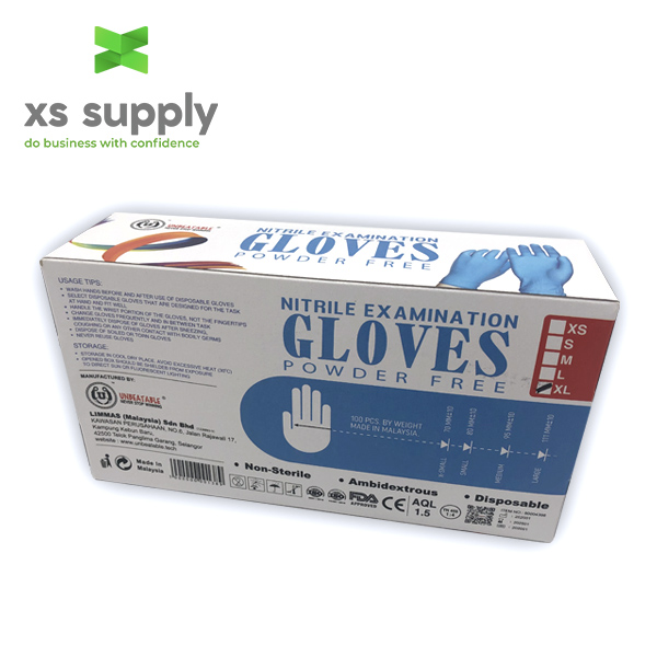 UNBEATABLE NITRILE GLOVES POWDER FREE  (BOX OF 100)