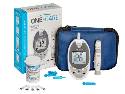 ONE-CARE Glucose Monitoring Kit for Self-Testing, 1 meter, 10 test strips, 1 lancing device, 10 lan