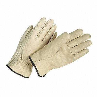Cowhide Drivers Gloves Shirred Wrist Cuff Cream Size L Left and Right Hand
