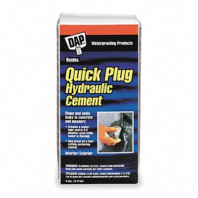 Gray Quick Plug Hydraulic Cement 5 lb Box Coverage Not Specified