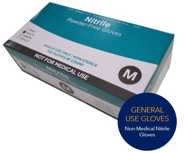 General Use Nitrile Gloves, White, Size Small, Medium, or Large, 100 Gloves per Box, 10 Boxes per C