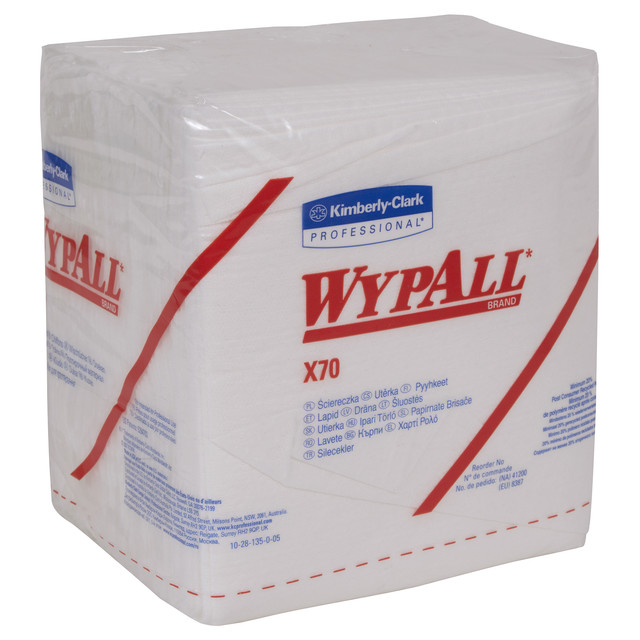 WypAll X70 Extended Use Reusable Cloths (41200), Quarterfold, Long Lasting Performance, White, 12 P