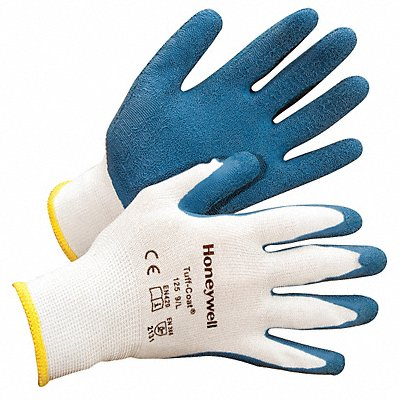 13 Gauge Crinkled Natural Rubber Latex Coated Gloves Glove Size L White/Blue