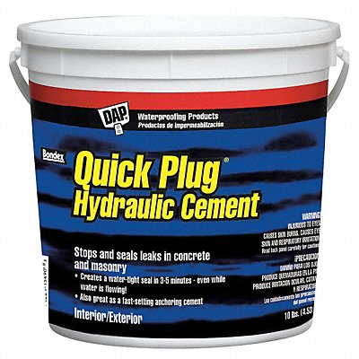 Gray Quick Plug Hydraulic Cement 10 lb Pail Coverage Not Specified