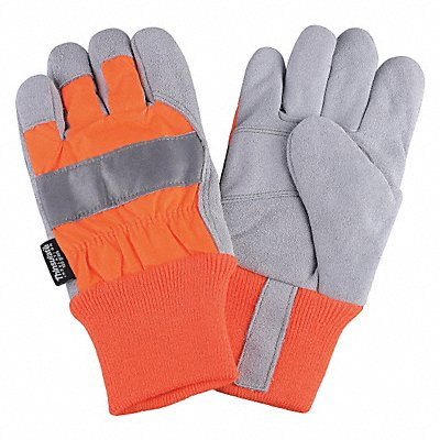 Cowhide Leather Work Gloves Knit Wrist Cuff High Visibility Orange Size XL Left and Right Hand