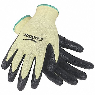 Nitrile Cut Resistant Gloves ANSI/ISEA Cut Level 2 Kevlar? Lining Black Yellow S PR 1