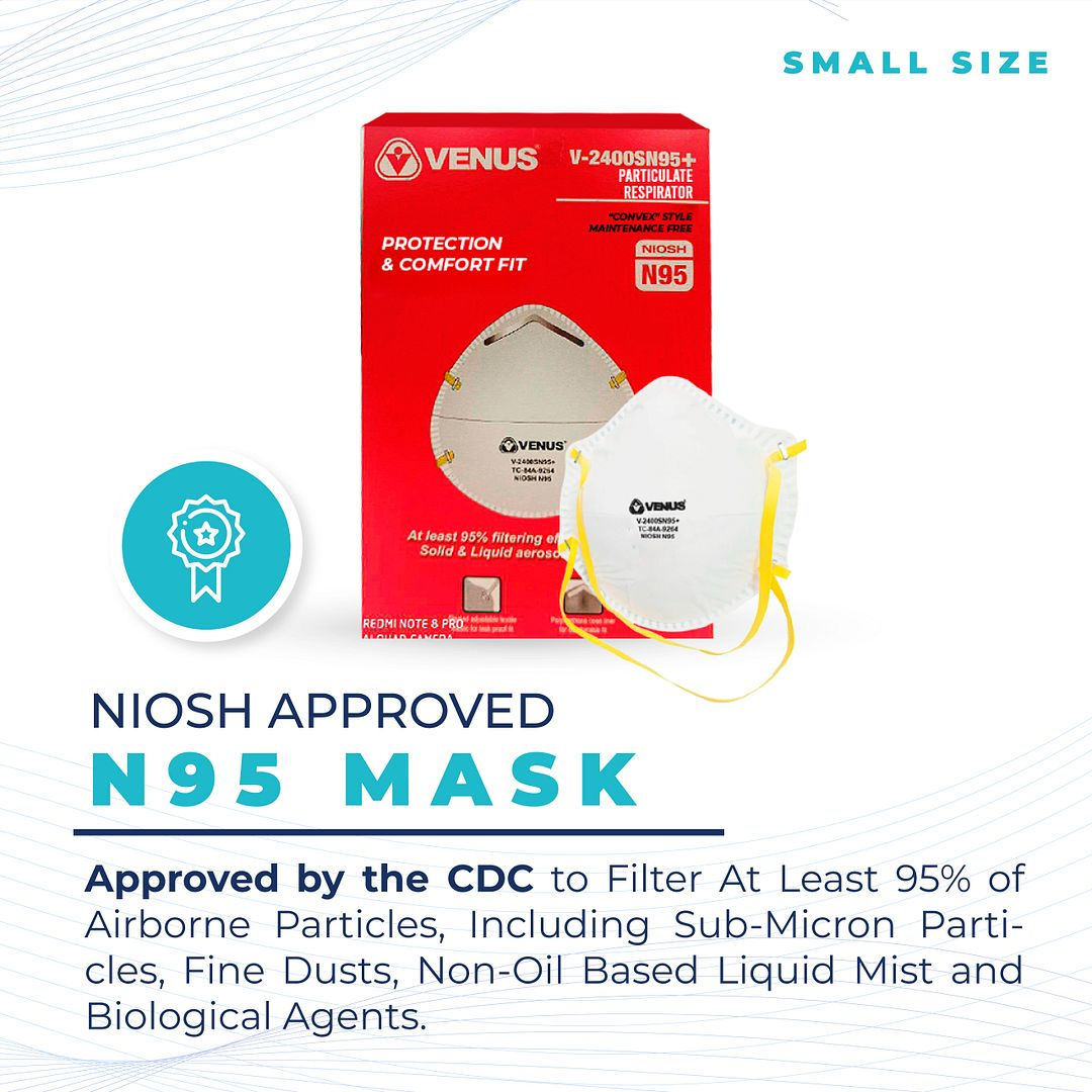 FDA NIOSH CDC Approved Professional Quality VENUS N95 Respirator Mask -Size Small ($2.45 Per Mask)