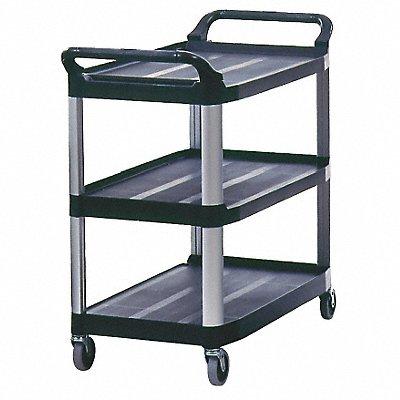 High Density Polyethylene Raised Handle Utility Cart 300 lb Load Capacity Number of Shelves 3