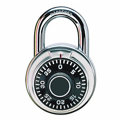 Combination Padlock Not Resettable Center-Dial Location 3/4 Shackle Height