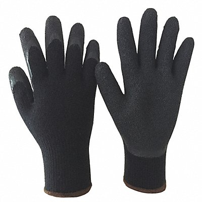 10 Gauge Crinkled Natural Rubber Latex Coated Gloves Glove Size XL Black