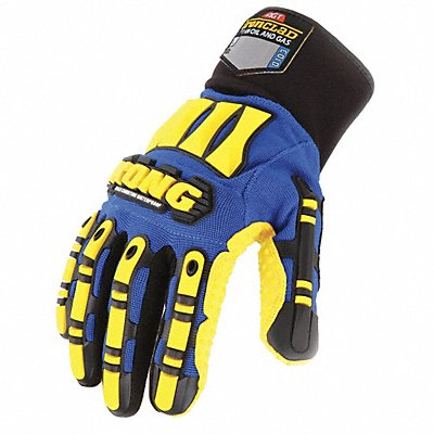 Cold Protection Gloves Polyester Lining Knit Wrist Cuff Blue/Yellow L PR 1
