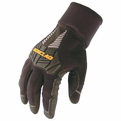 Cold Protection Gloves Micro Fleece Lining Knit Wrist Cuff Black/Black L PR 1
