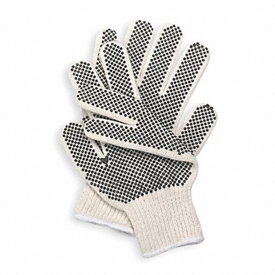 Knit Gloves Polyester/Cotton Material Knit Wrist Cuff Natural/Black Glove Size 2XL | Box of 12