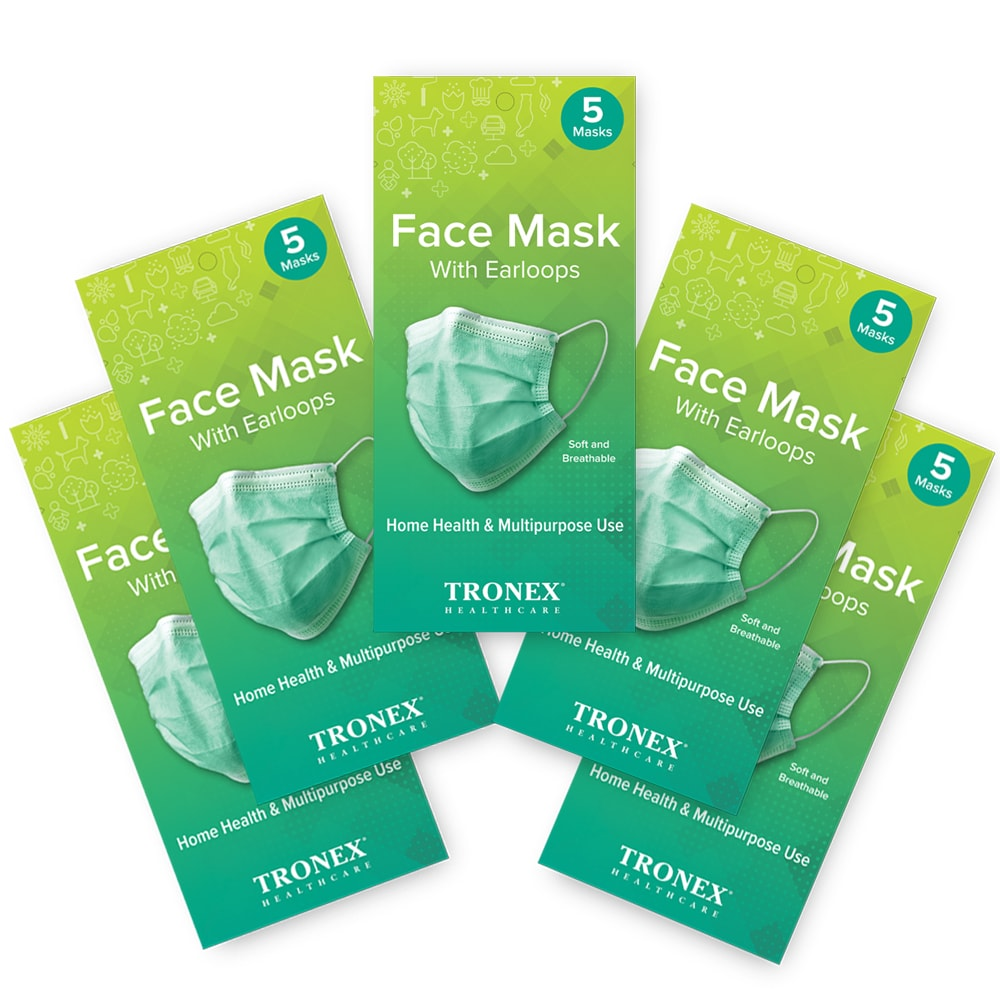 Tronex 3-Ply Green Breathable Procedure Face Mask With Earloops, Conveniently Packaged in 5-Piece R