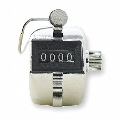Mechanical Tally Counter Silver Number of Digits 4 Hand Held Mounting