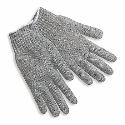 Knit Gloves Cotton Polyester Blend Material Knit Wrist Cuff Gray Glove Size L