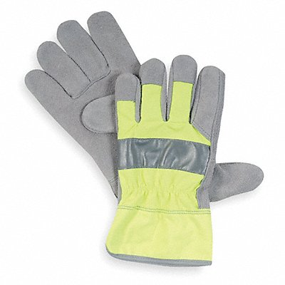 Cowhide Leather Work Gloves Safety Cuff High Visibility Lime Size M Left and Right Hand