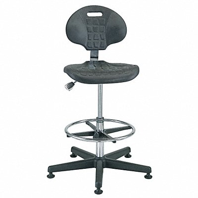 Polyurethane Cleanroom Task Chair with 21 to 31 Seat Height Range and 300 lb Weight Capacity Bla
