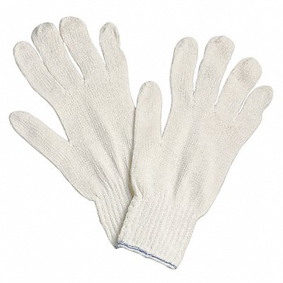 Knit Gloves Polyester/Cotton Material White Glove Size L