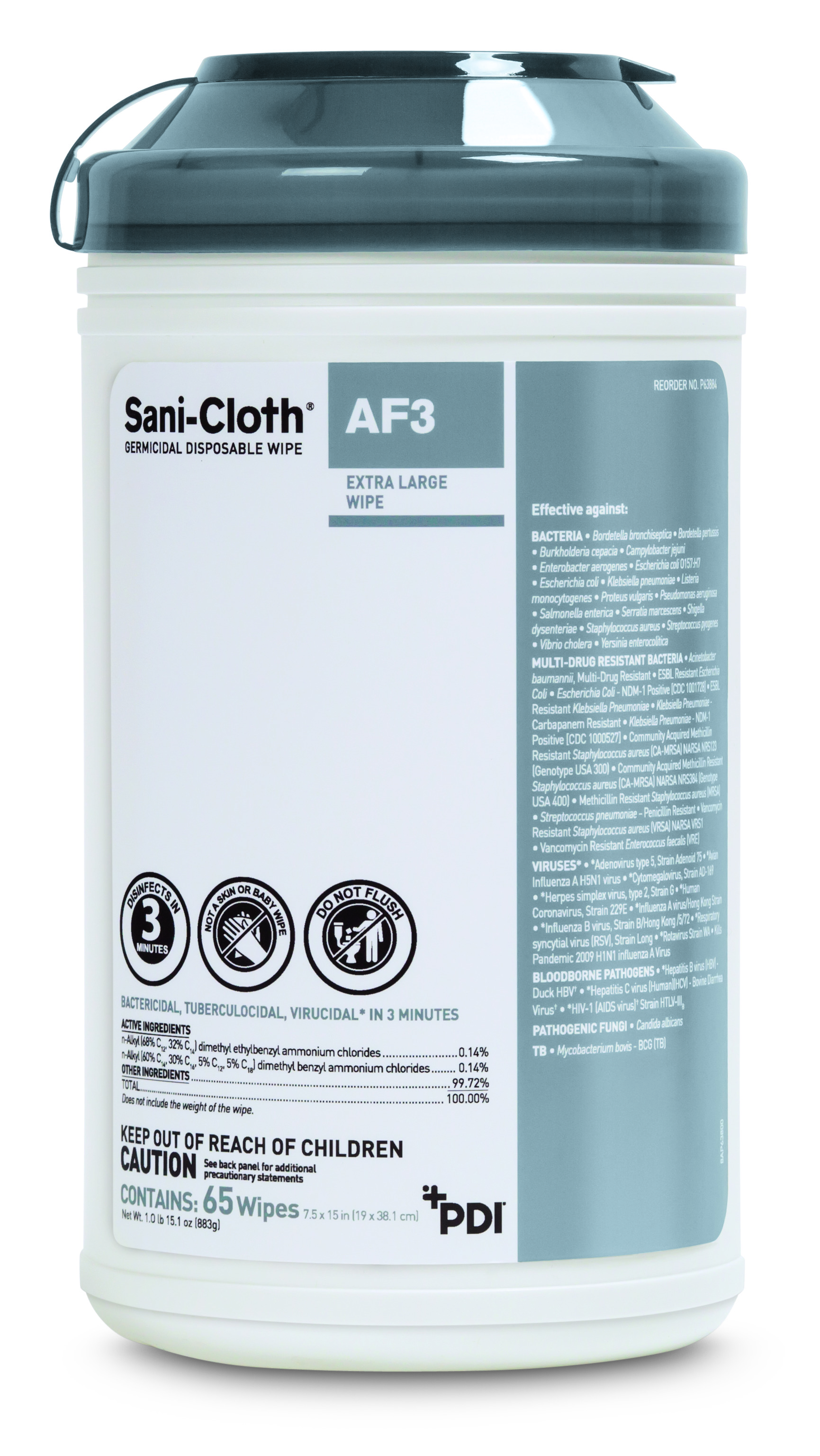Sani-cloth Af3 Germicidal Disposable Wipe | X-large Canister (case Of 6 Canisters, 65 Sheets Per Ca