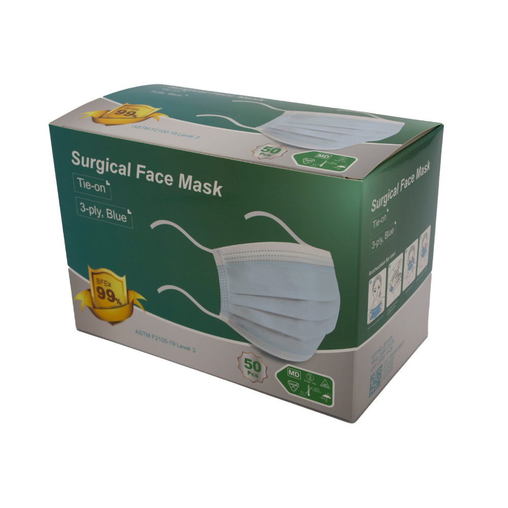 Level 3 Medical Face Mask, 3 Ply - Tie-On Surgical Mask, Non-Sterile, FDA Authorized, Pallet of 30,