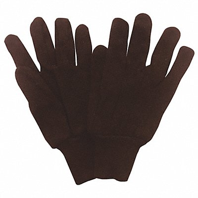 Jersey Gloves Cotton/Polyester Material Knit Wrist Cuff Dark Brown Glove Size L