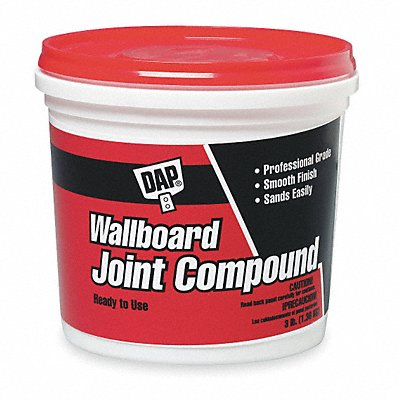 Lightweight Wallboard Joint Compound 3 lb Size White Color Container Type Pail
