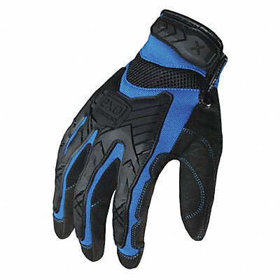 Impact Resistant Gloves Synthetic Leather Palm Material Blue Black 1 PR