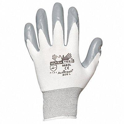 15 Gauge Flat Nitrile Coated Gloves Glove Size XL Gray/White