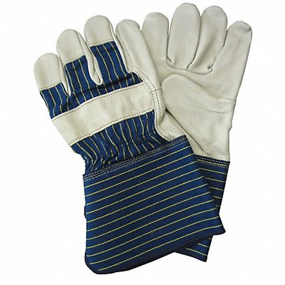Cowhide Leather Work Gloves Gauntlet Cuff Blue/Gold Size L Left and Right Hand