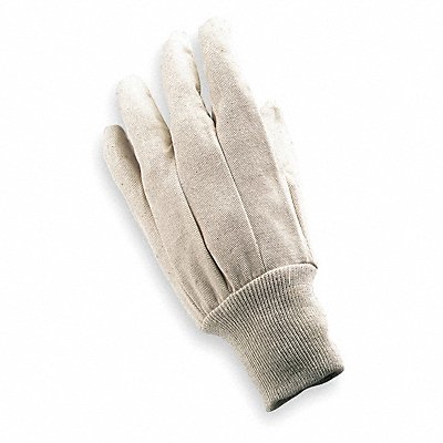Canvas Gloves Cotton/Polyester Material Knit Wrist Cuff Natural Glove Size L
